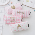 Canvas Pencil Case School Bag Large Capacity Pen Box Stationery Pouch Makeup Cosmetic Bag