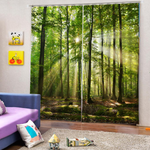 2 Panel Sunny Forest Curtain 3D Printed Window Curtain