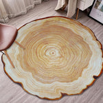Round Wood Carpet 3D Printing Annual Ring Carpet Home Bedroom Rug Door Mat