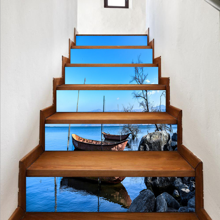 Creative 6Pcs 3D DIY Stair Stickers Lake Boats Home Decor