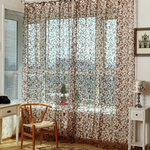 100x200cm Chic Floral Printed Flocking Tulle Window Curtain Door Bedroom Screen