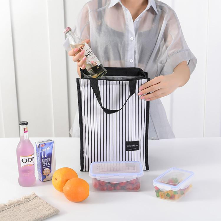 Simple Striped Daily Picnic Portable Insulation Lunch Bag