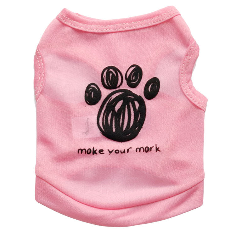 Casual Dog Vest Footprint Dog Clothes