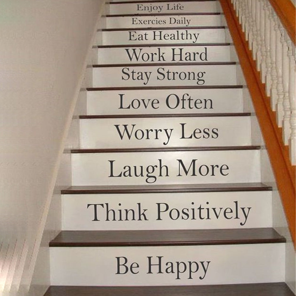 Enjoy Life Staircase Decorative Character Pattern Print Waterproof Stair Stickers