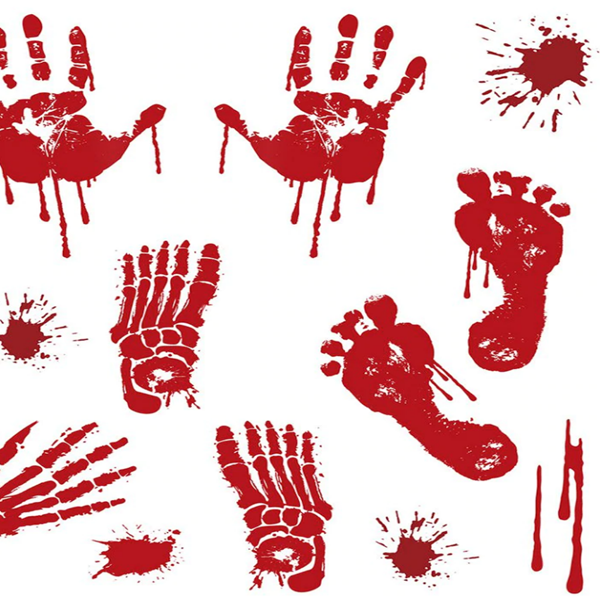 Halloween Bloody Handprint Print Removable Wall Art Stickers