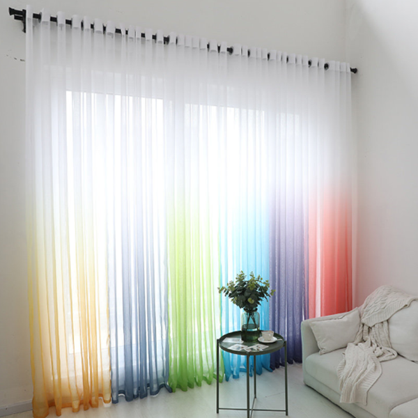 Curtains Color Gradient Terilun Tulle Window Screen Sheer Panels Romantic Wedding Decor Curtain