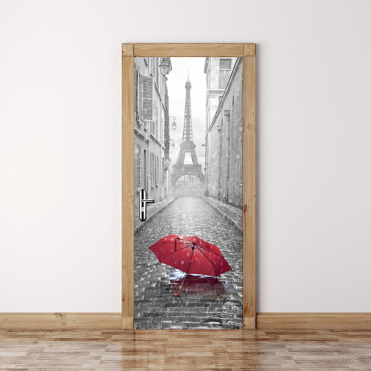 Adhesive Eiffel Tower Door Sticker Living Room Mural Decor