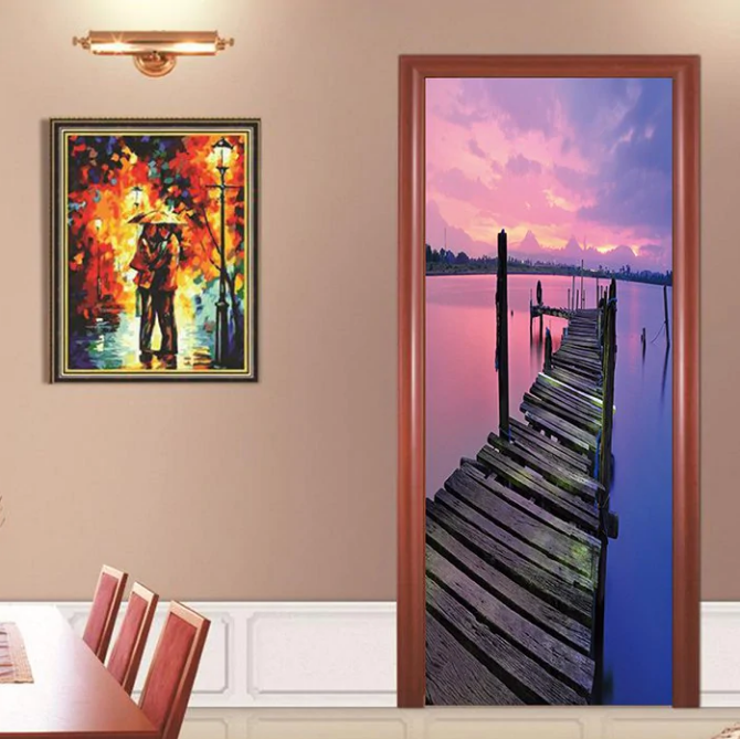 Creative PVC Door Sticker Set Bridge Style Mural Decal