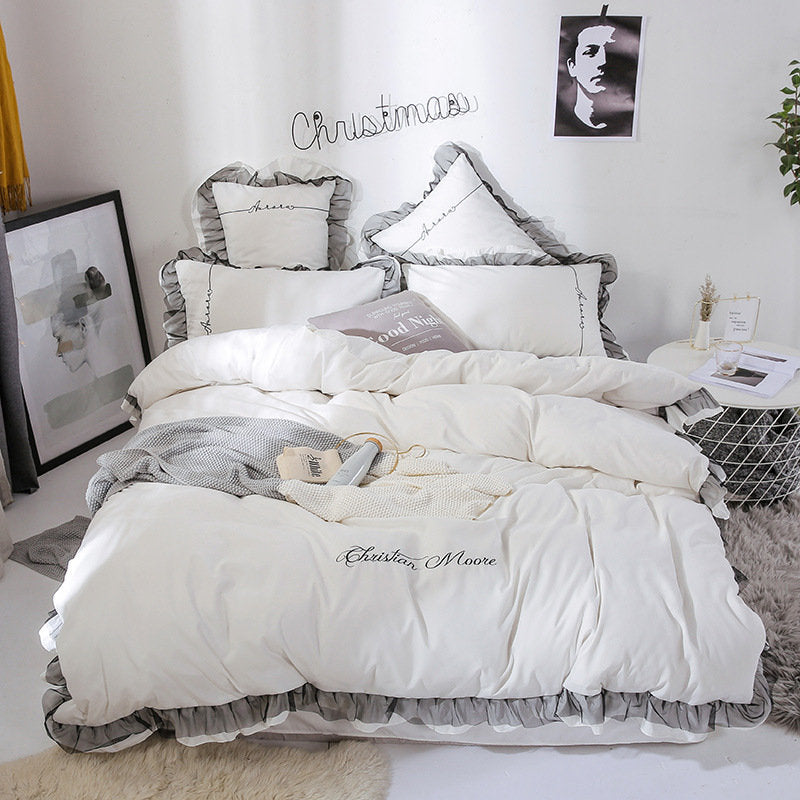 Embroidery Lace Purfle Bedding Sets