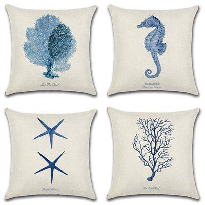 Marine Organism Print Pillow Case Car Home Sofa Bed Decor