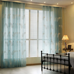 White/Blue Feather Embroidered Voile Curtains for Living Room Sheer Curtains Tulle Window
