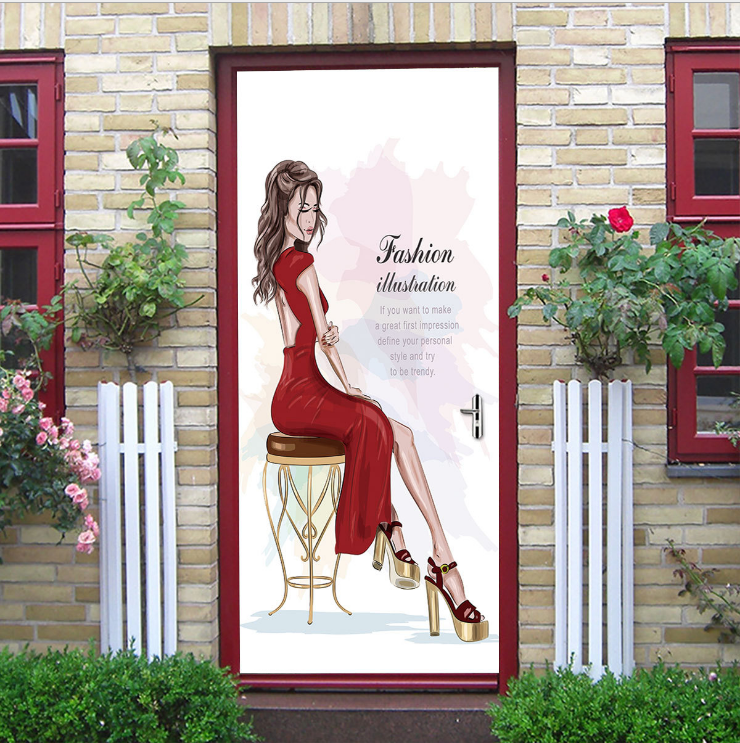 Fashion Beauty Creative Door Stickers