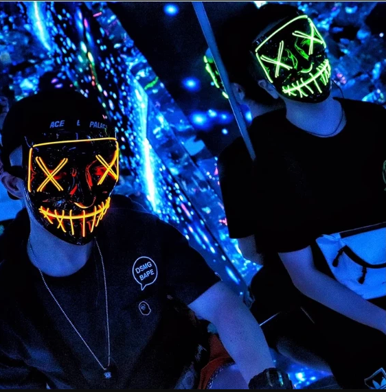 Halloween-Party & Rave LED Purge Mask