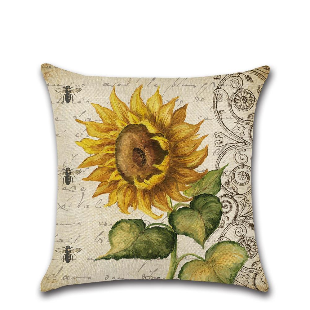 Sunflower Theme Pillow Car Home Sofa Bed Decoration