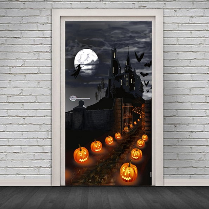 Halloween Castle Pumpkin Pattern Door Stickers