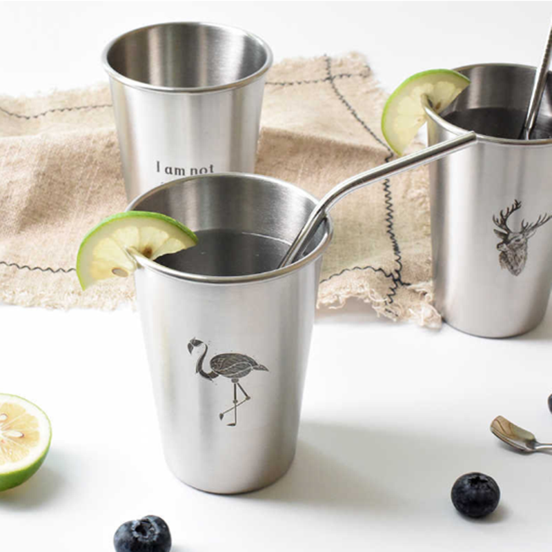 500ml Stainless Steel Metal Mug Flamingo Deer Cactus for Cold Drink Water Beer Coffee Juice Cup