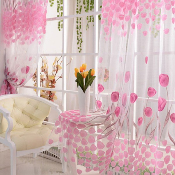 Soft Tulle Tulip Flower Window Screen Home Sheer Window Curtain