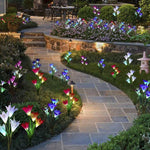 Solar Lily Flower Color Gradient 4LED Ground Light Garden Light Garden Light Lawn Light Artificial Flower