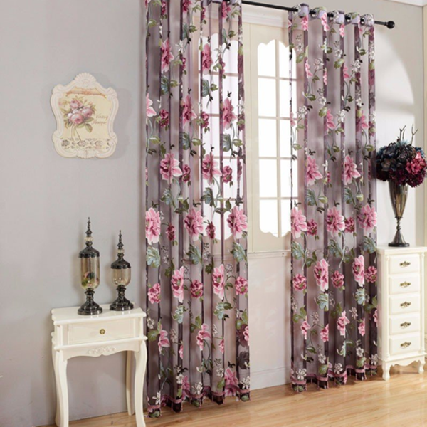 Flower Transparent Tulle Curtains Window Screen Decor Living Room Yellow Purple Sheer Curtain