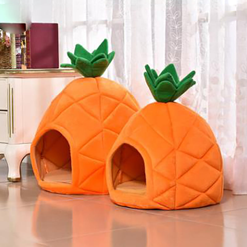 Dog Beds Pet Cat House Foldable Soft Winter Dog Bed Pineapple Shape Dog House Cute Kennel Nest