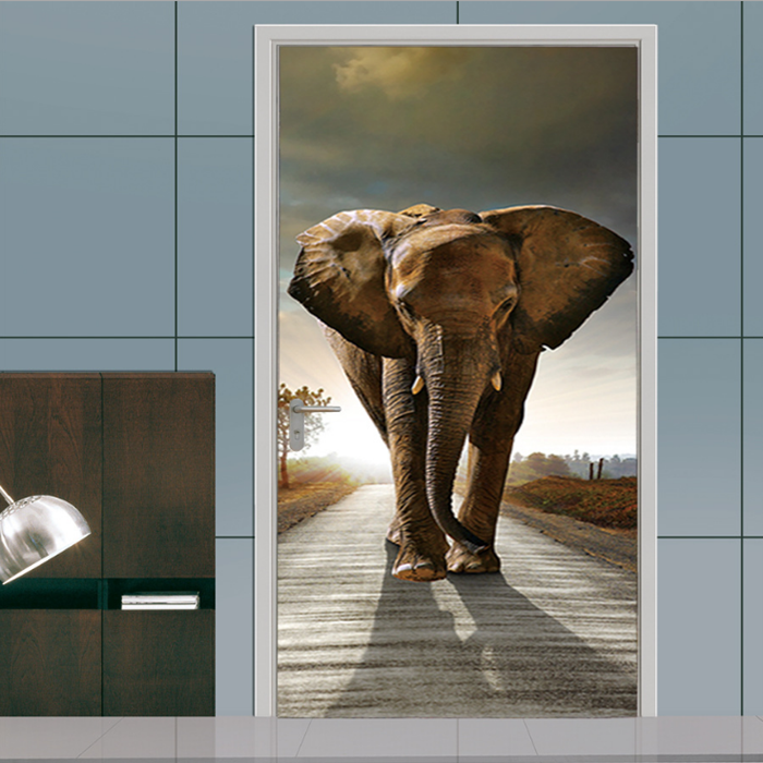 3D Stereo Door Sticker Castle Elephant