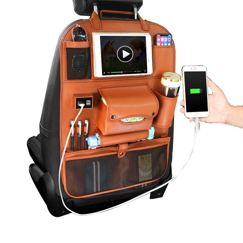 Multi-functional Leather Car Seat Back Storage Bag Organizer Pad Phone Bottle Holder with USB Charging Port