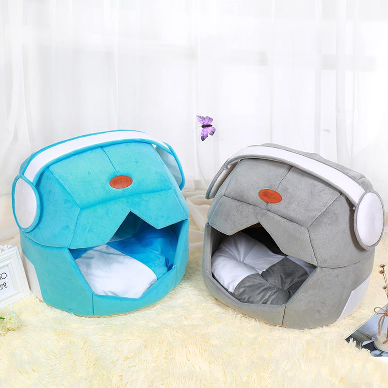 Dog Beds Sofas Cartoon Type Pet Tent Kennel House Space Shaped Pet Bed Cotton Cushion Mat