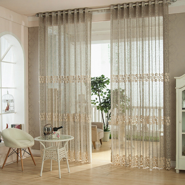 2pcs Fiber Lace Hollow Out Tulle Sheer Curtains Window Screening Bedroom Living Room Home Decor