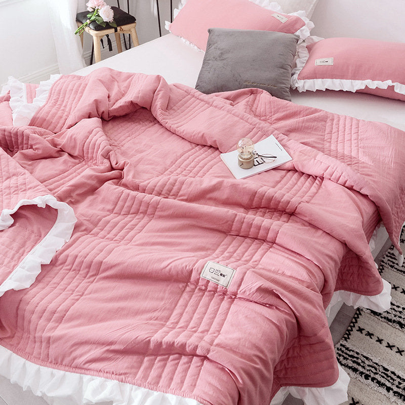 Japanese-style Washed Cotton Bedding Set Quilted Bedding Thin Quilt Pillowcases