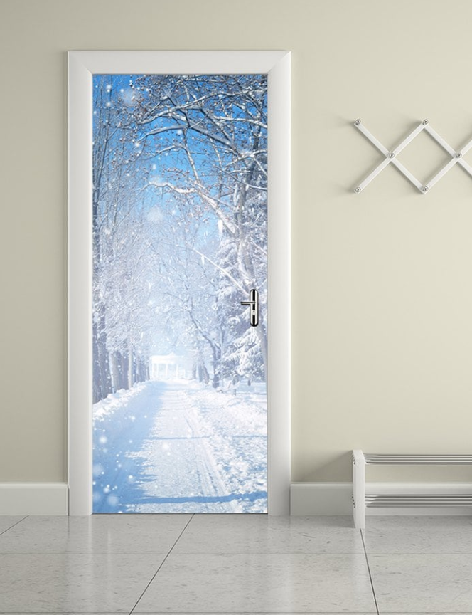 Winter Snow Road Door Stickers