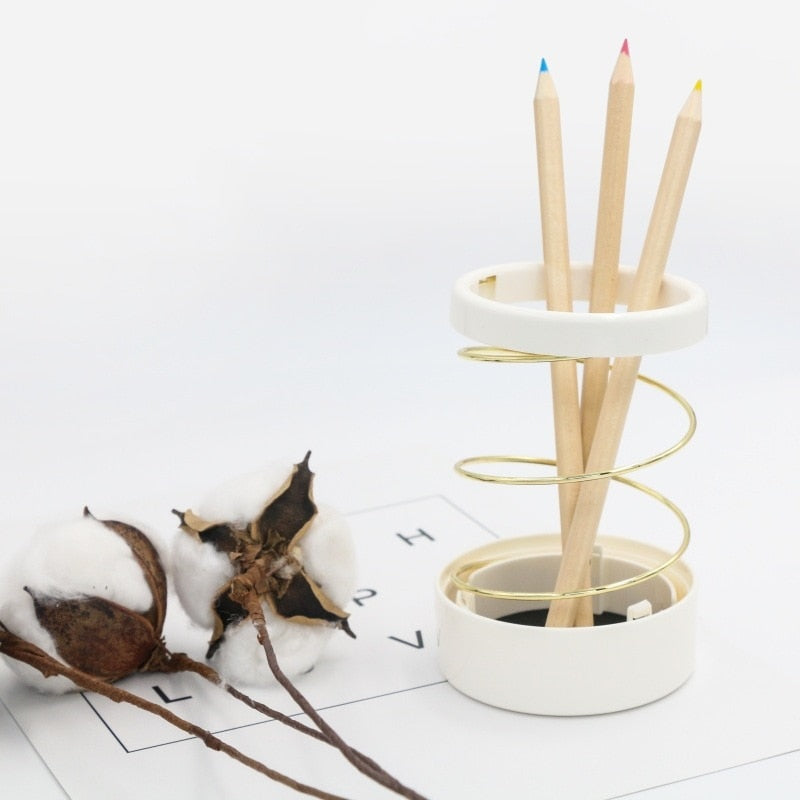 1Pcs Pen Holder Hollow Out Storage Tube Scalable Spring Spiral Wire Pencil Holder