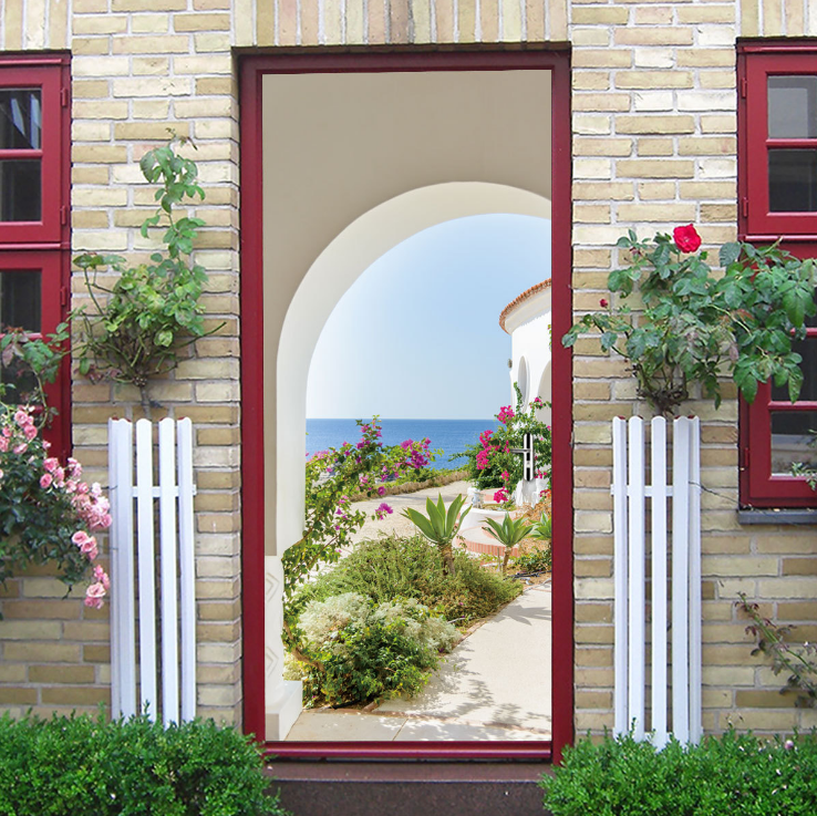 Seascape Garden Creative 3d Stereo Door Sticker