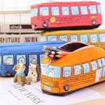 Cartoon Pencil Case Pen Bag Box Bus Storage Large Zipper School Bag