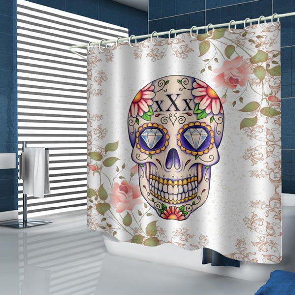 Halloween Skull 3D Digital Printing Pattern Bathroom Curtain Mildew Waterproof Shower Curtain