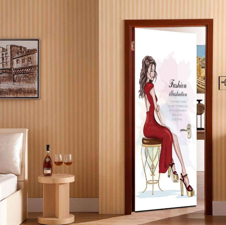 Fashion Beauty Creative 3d Stereo Door Stickers