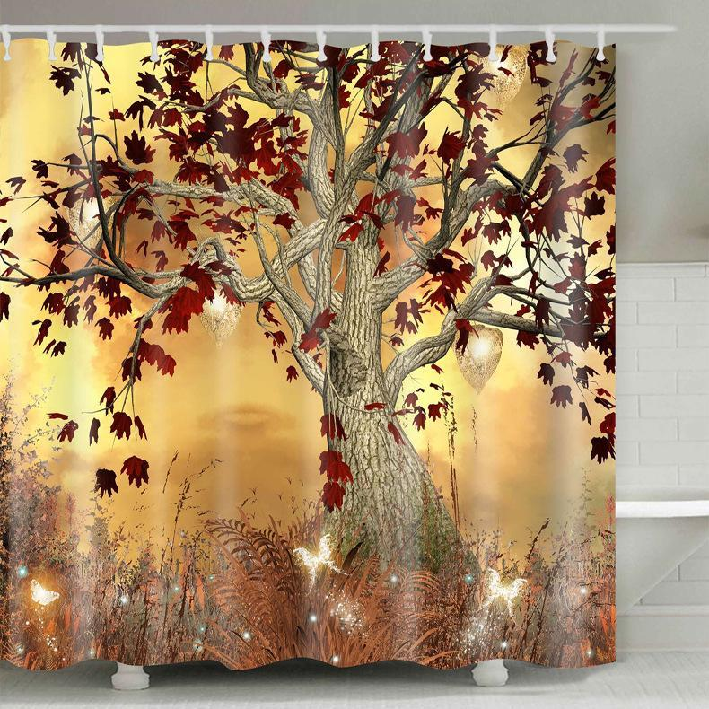 Shower Curtain Marine Wind Polyester 3D Digital Printing Waterproof Bathroom Curtain