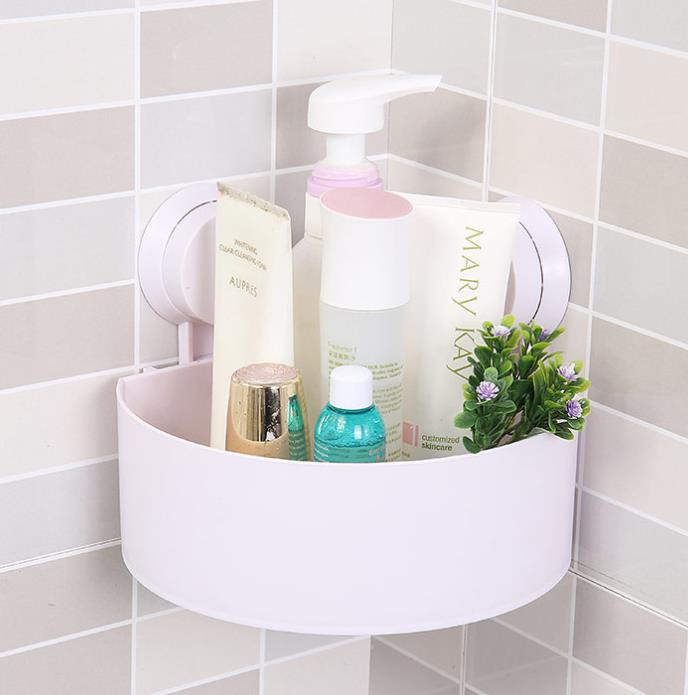 Bathroom Wall-Mounted Sucker Triangle Shelf Storage Box For Bathroom And Kitchen