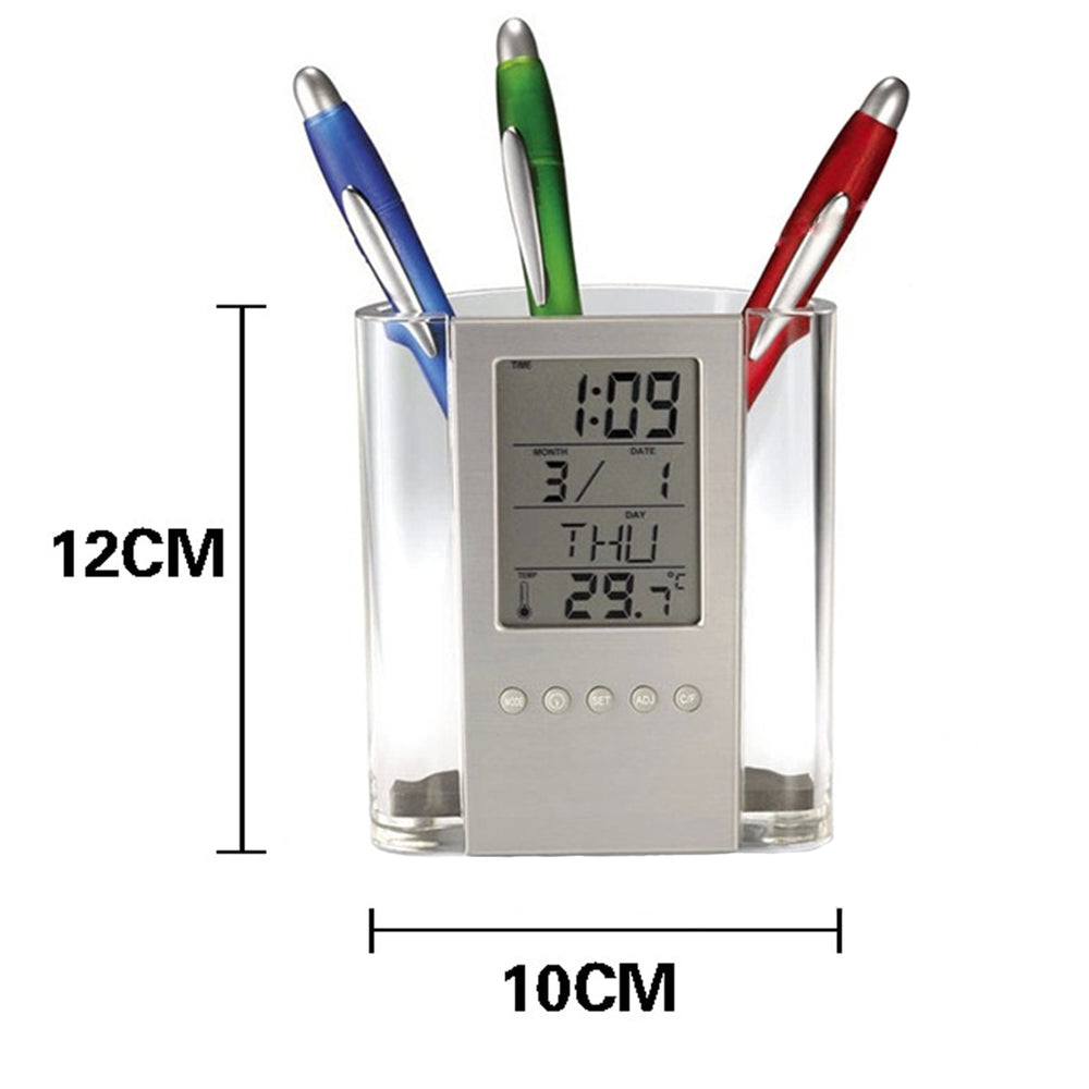 Pen Holder Multifunctional Electronic Calendar Temperature Display Office Storage