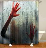 Halloween Blood Handprint Shower Curtain