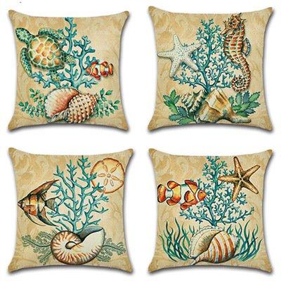 Ocean Marine Organism Pillow Case Cotton Linen Cushion Pillow Case