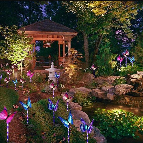 Solar Butterfly Light 7 Color Cycle LED Fiber Butterfly Light Lawn Garden Villa Landscape Light