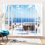 2 Panel Sea Blackout Blinds Thermal Insulated Landscrape 3D Printed Window Curtain