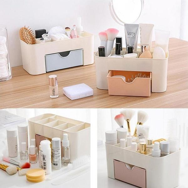 Plastic Desktop Multi-function Cosmetic Storage Box with Small Drawer