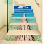 Creative 6Pcs 3D DIY Stair Stickers Blue Sea Pier Home Decor
