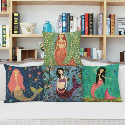 Fair Tale Mermaid Print Cushion Pillow Case Car Home Sofa Bed Deco