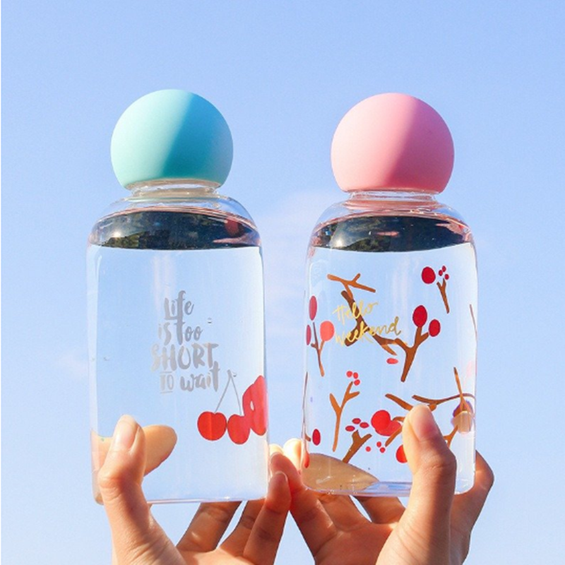 Glass Water Bottle 450ML Student Outdoor Portable Drinking Container Cute Style Cup