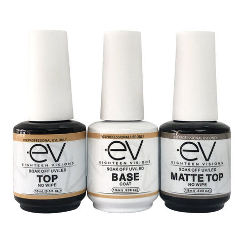 EV Trio GEL BASE & TOP COATS NO WIPE UV/LED CURE