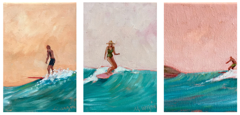 Surfers by artist Carla Gangini