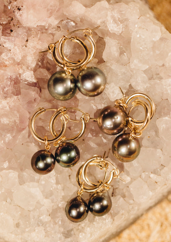 Tahitian Pearls on Gold Filled Hoops