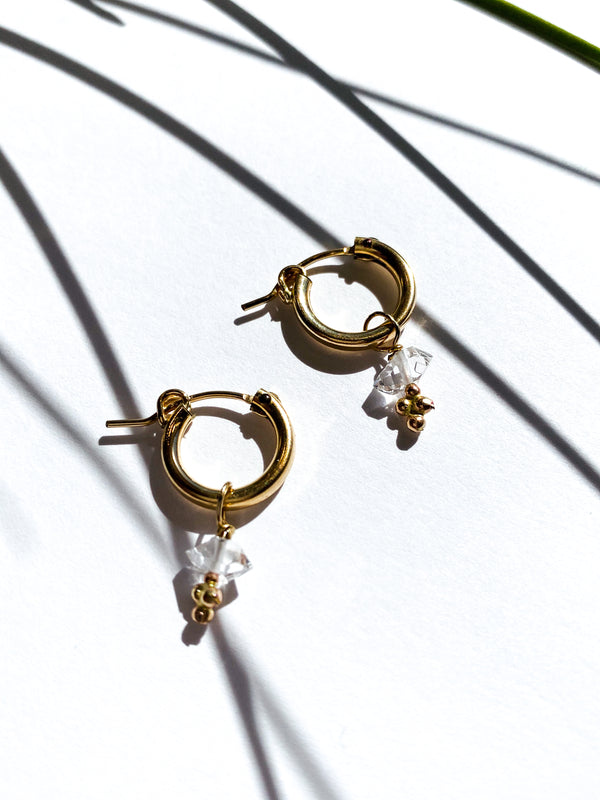 Gold Filled Hoops with a Herkimer Charm and granulation at base.